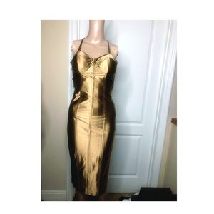 Gorgeous satin GOLD corsette dress